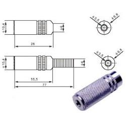 3.5mm lizdas kabeliui stereo metalinis