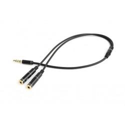 GEMBIRD CCA-417M Adapteris Stereo Mini Jack (M) 4-pin -> 2x Mini Jack (F), metal, black