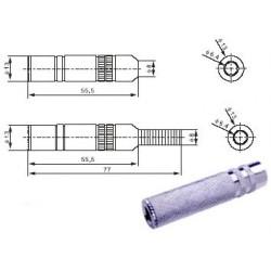 6.3mm lizdas kabeliui stereo metalinis