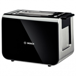 Toaster Bosch TAT8613 Black, Stainless steel, 860 W, Number of slots 2, Number of power levels 5, Bun warmer included