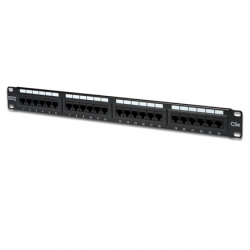 """Logilink Digitus, Pach panel cat5, 24 ports, unshielded ISO / IEC 11801 and EN 50173 RJ45 sockets, 8P8C Cable installation via LSA strips, color codes based on EIA / TIA 568 A & B Suitable for 483mm (19 """") rack mount Housing material: SECC, 1.5mm galvaniz"""
