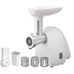 Meat mincer Camry CR 4802 White, 600-1500 W, Number of speeds 1, Middle size sieve, mince sieve, poppy sieve, plunger, sausage filler, vegatable attachment.