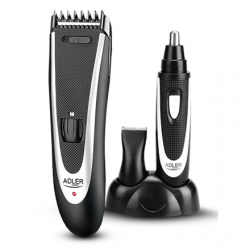 Adler AD 2822 Hair clipper + trimmer, 18 hair clipping lengths, Thinning out function, Stainless steel blades, Black Adler Adler AD 2822  Warranty 24 month(s), Hair clipper + trimmer, Cordless, Rechargeable, Base station, High-quality, built-in NiMH batte