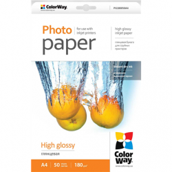 ColorWay A4, High Glossy Photo Paper, 50 Sheets, A4, 180 g/m²