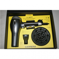 SALE OUT. Carrera 631 Hairdryer with AC Motor 2.400 W, Silver/Black Carrera 631 Hair Dryer 2400 W, Number of temperature settings 3, Ionic function, Diffuser nozzle, Silver/Black, USED AS DEMO