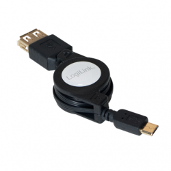 Logilink Extensible USB OTG Cable USB micro B male, USB (Type A) female, 0.75 m, Black