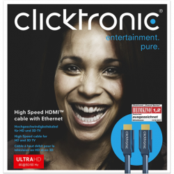 Clicktronic High Speed HDMI to HDMI cable, male,4k@60hz with Ethernet, 70301, 1 m