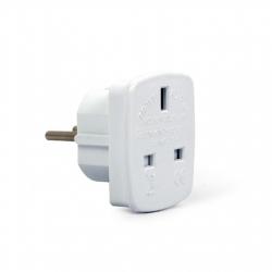 Gembird AC power adapter, UK socket to EU Schuko plug, 7.5 A White, Travel adapter