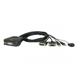 Aten 2-Port USB DVI Cable KVM Switch with Remote Port Selector