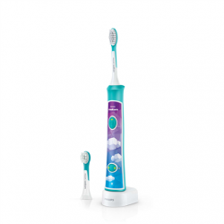 Philips Sonic Electric toothbrush  HX6322/04 For kids, Rechargeable, Sonic technology, Teeth brushing modes 2, Number of brush heads included 2, Aqua