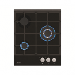 Simfer Hob H4.305.HGSSP Gas on glass, Number of burners/cooking zones 3, Rotary painted inox knobs, Black, 45 cm