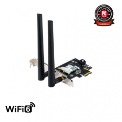 ASUS  PCE-AX3000  (802.11ax) AX3000 Dual-Band PCIe Wi-Fi 6 Asus 2 external antennas Bluetooth 5.0, WPA3 network security, OFDMA and MU-MIMO