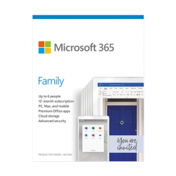 Microsoft 365 Family 6GQ-01158 Up to 6 People, License term 1 year(s), Latvian, Medialess, P6