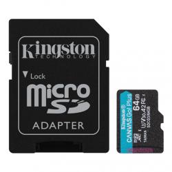 Kingston microSD Canvas Go! Plus 64 GB, MicroSD, Flash memory class 10, SD Adapter