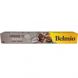 Belmoca Belmio Sleeve Espresso Extra Dark Roast Coffee Capsules for Nespresso coffee machines, 10 capsules, Coffee strength 12/12, 100 % Arabica, 52 g