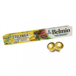 Belmoca Belmio Sleeve BIO/Single Origine Colombia  Coffee Capsules for Nespresso coffee machines, 10 aluminum capsules, Coffee strength 7/12