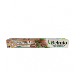 Belmoca Belmio Sleeve BIO/Single Origine Guatemala Coffee Capsules for Nespresso coffee machines, 10 aluminum capsules, Coffee strength 6/12