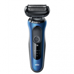 Braun Shaver 60-B1500s Cordless, Charging time 1 h, Lithium Ion, Number of shaver heads/blades 3, Black/Blue, Wet & Dry