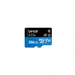 Lexar High-Performance 633x UHS-I micro SDXC, 256 GB, Class 10, U3, V30, A1, 45 MB/s, 100 MB/s