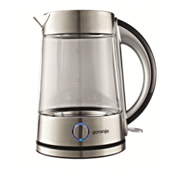 Gorenje Kettle K17G Electric, 2200 W, 1.7 L, Glass, 360° rotational base, Transparent/Stainless steel