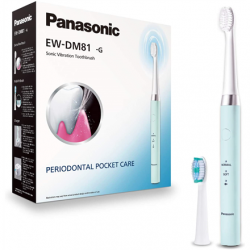 Panasonic Electric Toothbrush EW-DM81-G503 Rechargeable, For adults, Number of brush heads included 2, Number of teeth brushing modes 2, Sonic technology, White/Mint