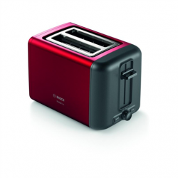 Bosch DesignLine Toaster TAT3P424 Power 970 W, Number of slots 2, Housing material Stainless steel, Red