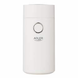 Adler Coffee grinder AD4446wg 150 W, Coffee beans capacity 75 g, Lid safety switch, White