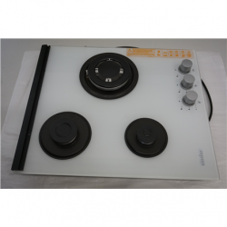 SALE OUT. Simfer H4.305.HGSBB Hob, Gas (1 Wok), Width 45 cm, 3 cooking zones, Mechanical control, Whit Simfer Hob H4.305.HGSBB Gas on glass, Number of burners/cooking zones 3, Rotary painted inox knobs, White, DAMAGED PACKAGING, SCRATCHES ON FRAME