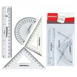 Geometrijos priemonių rinkinys NATARAJ, 15 cm liniuotė, 45 ir 60 l.