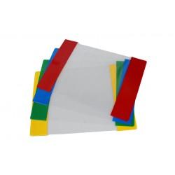 Plastikinis aplankalas A4, skaidrus, su reguliuojamu spalvotu krašteliu