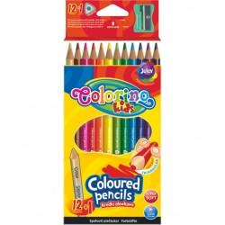 Tribriauniai spalvoti pieštukai Colorino Kids 12+1(aukso/sidabro sp.)
